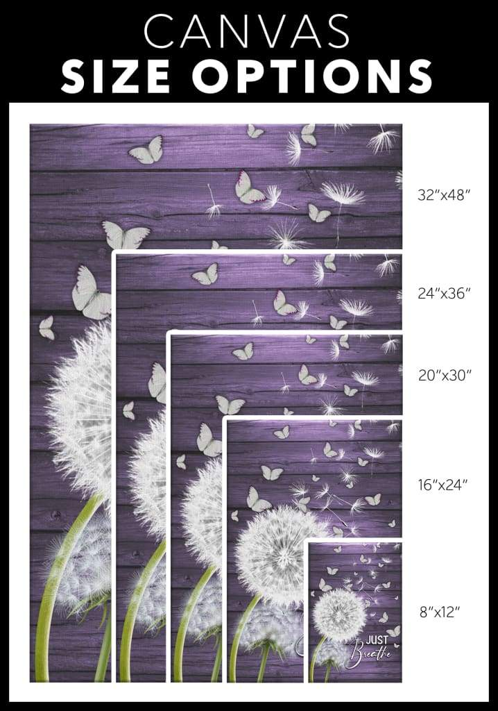 ( Purple) Just breathe canvas wall art