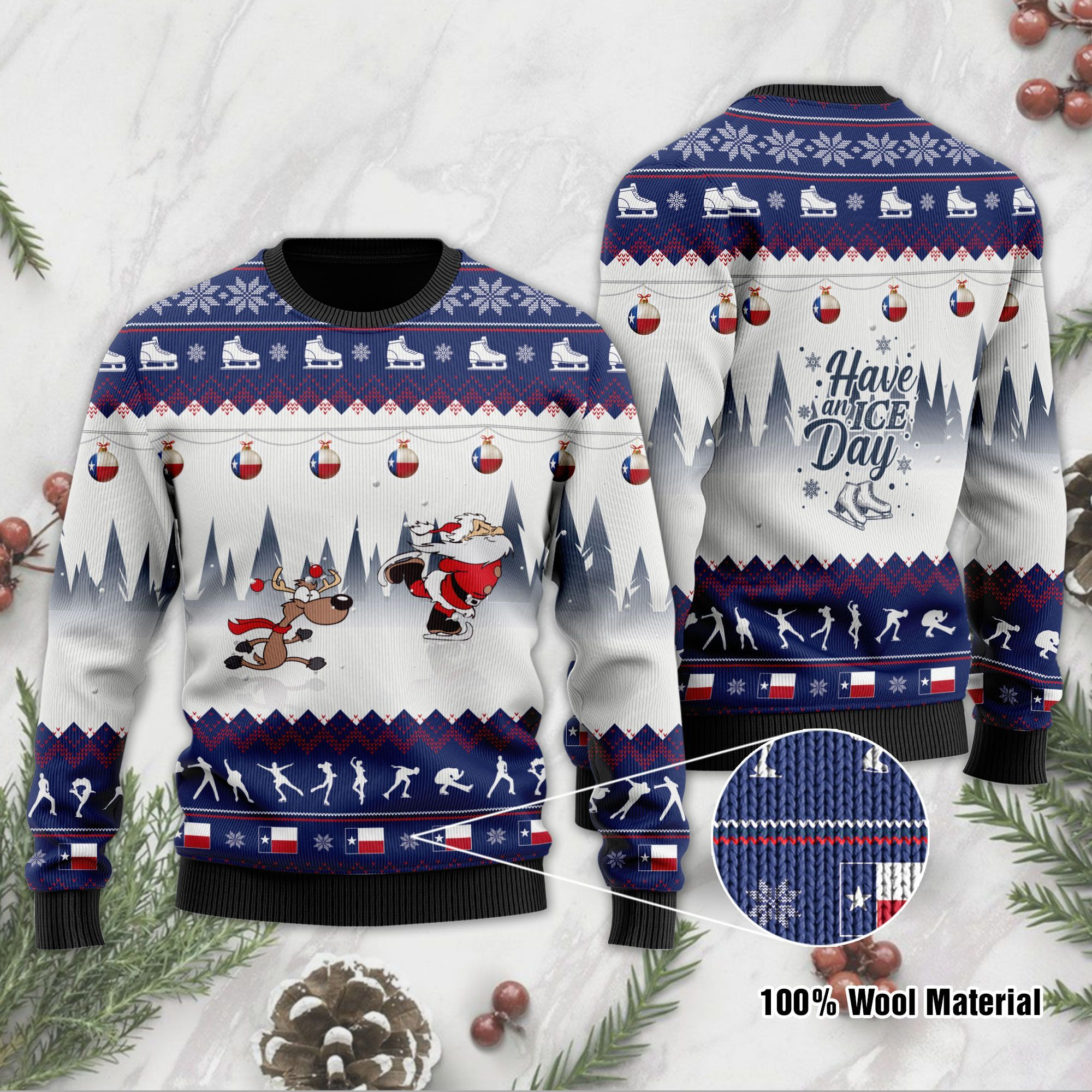 Have An Ice Day Santa Claus And Reindeer Speed Skating Ugly Christmas Wool Sweater For Ice Skating Lovers