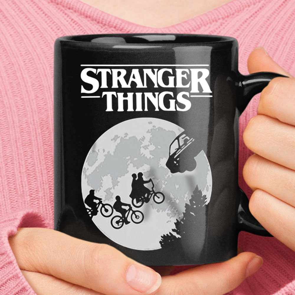 Stranger Things Riding Across The Moon Mug