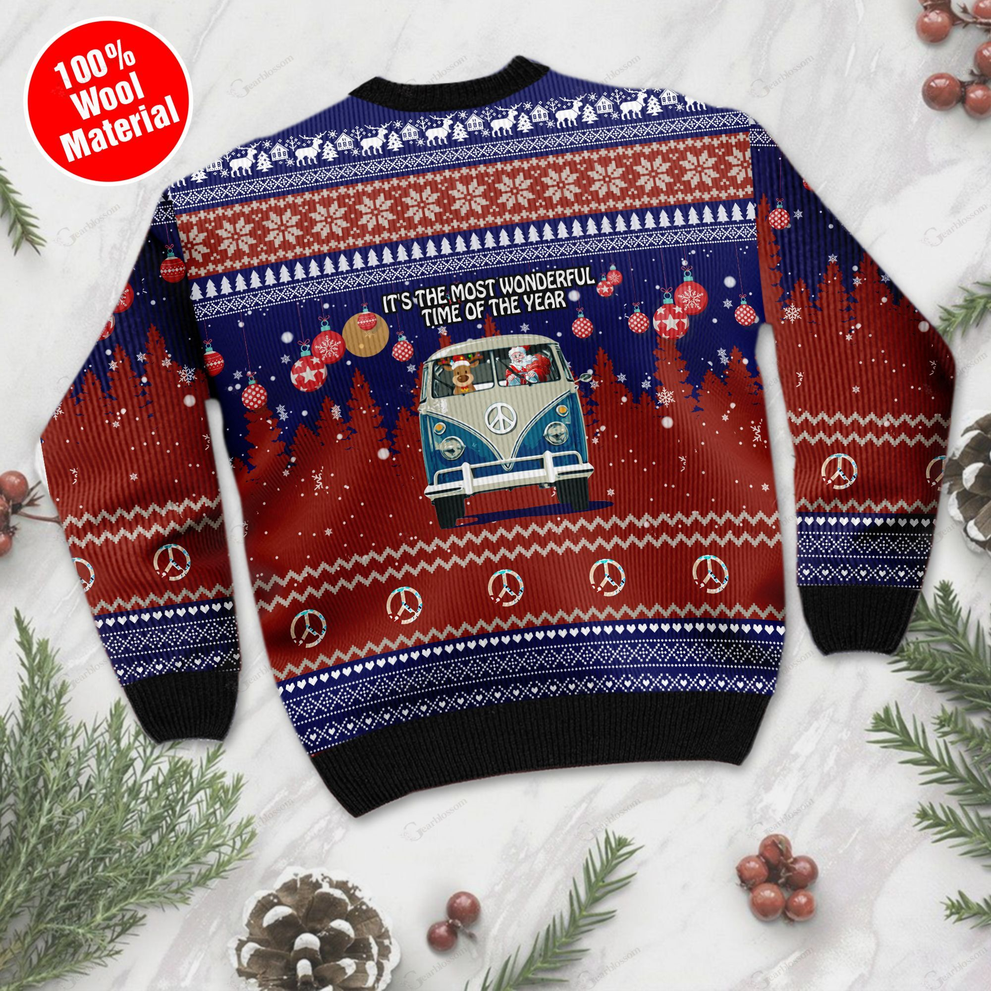 It's The Most Wonderful Time Of The Year Santa Claus In Hippie Car Ugly Christmas Wool Sweater For Hippie Lovers TPLH