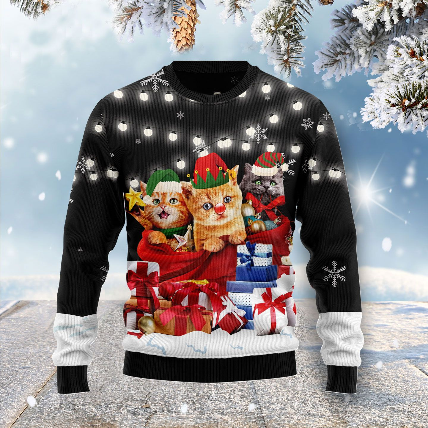 Cat Gifts Noel Wool Christmas Sweater