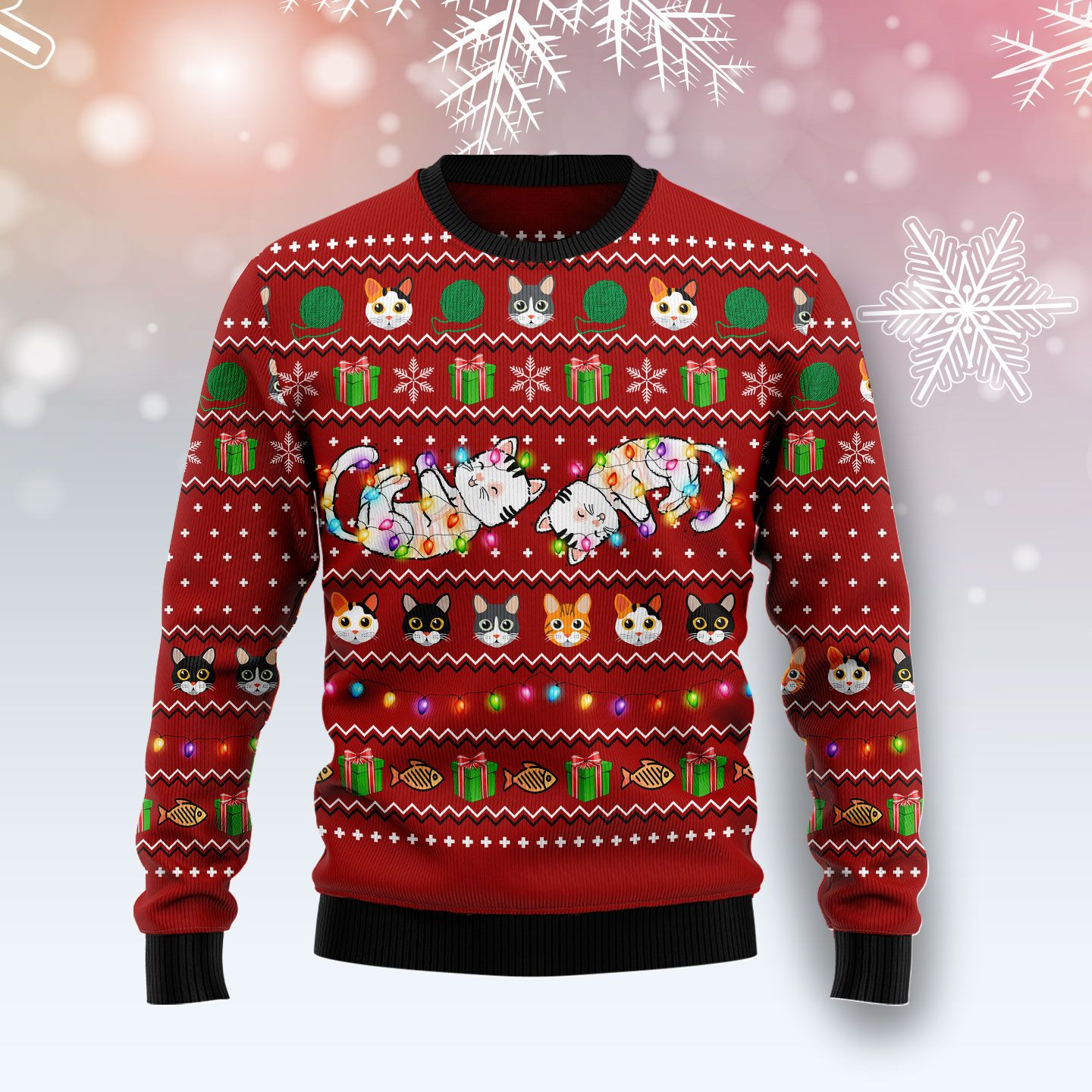 Cat Light Wool Christmas Sweater