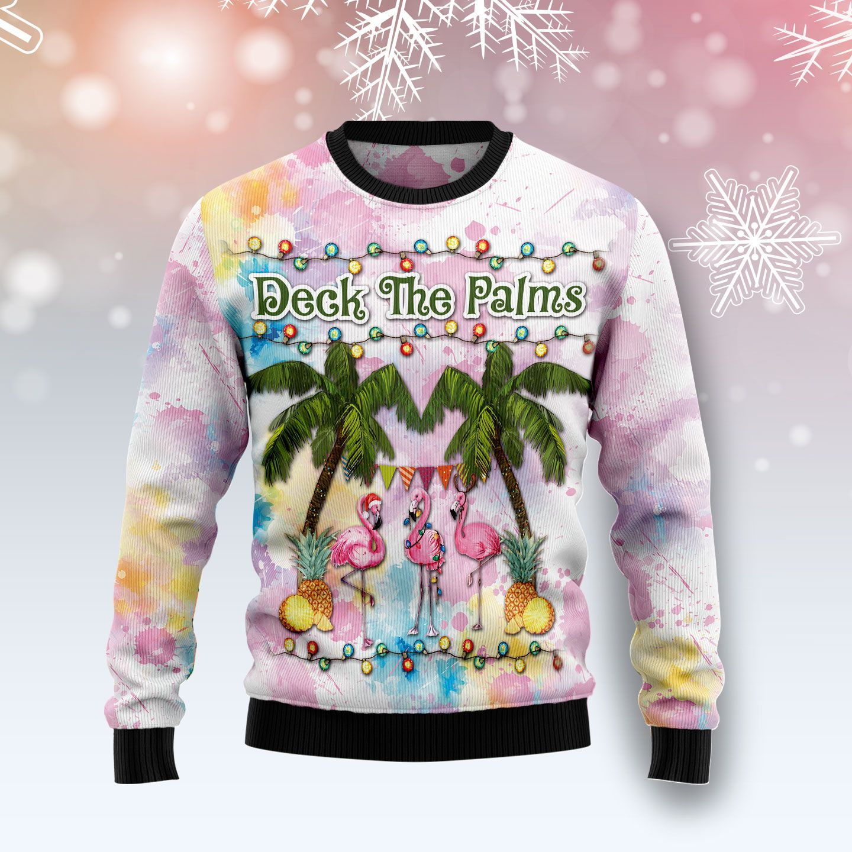 Flamingo Deck The Palms Wool Christmas Sweater