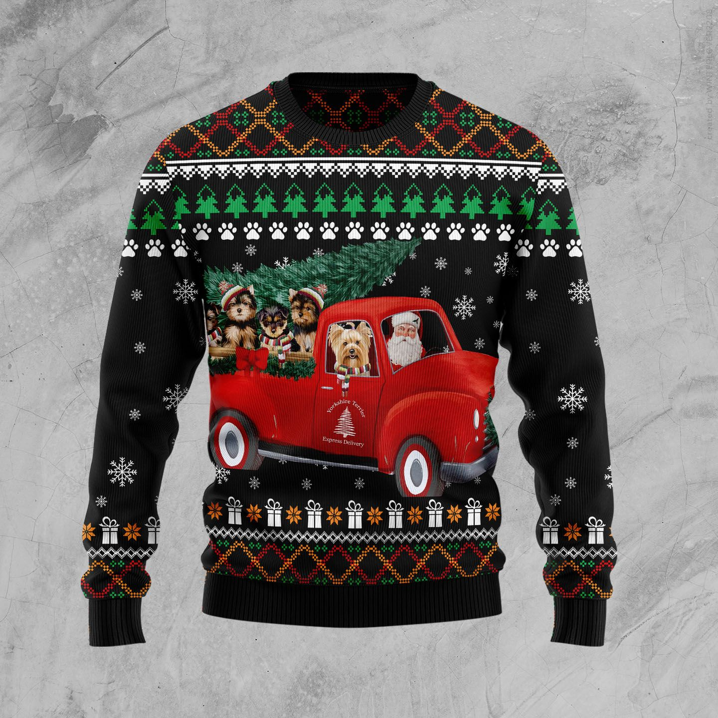 Yorkshire Terrier and Red Truck Wool Christmas Sweater