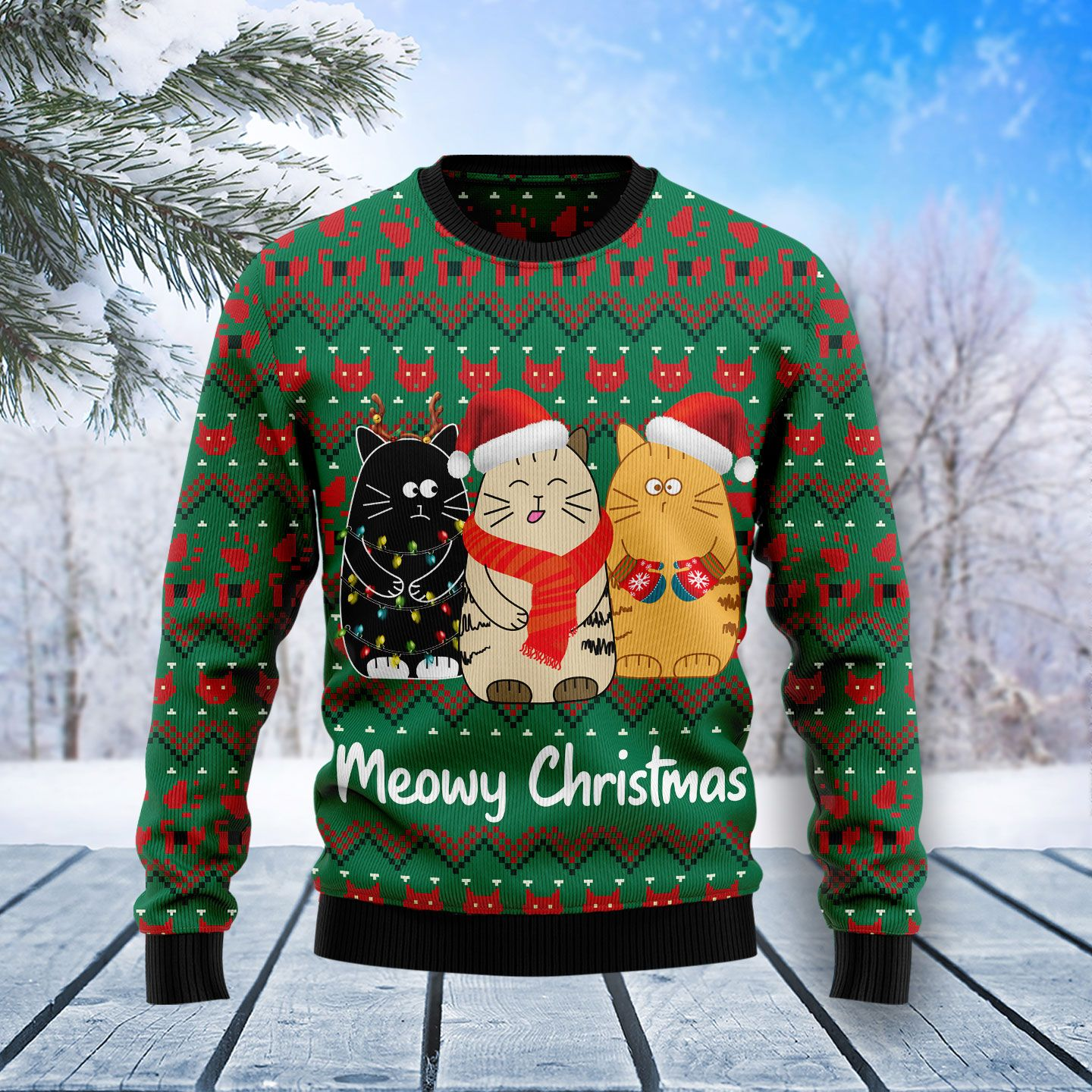 Cat Meowy Christmas Wool Christmas Sweater
