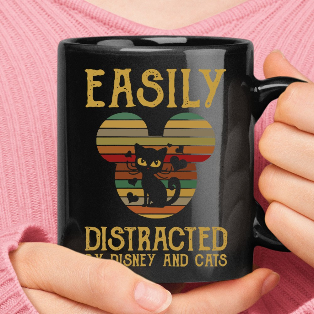 Easily Distracted By Disney And Cats Vintage Mug