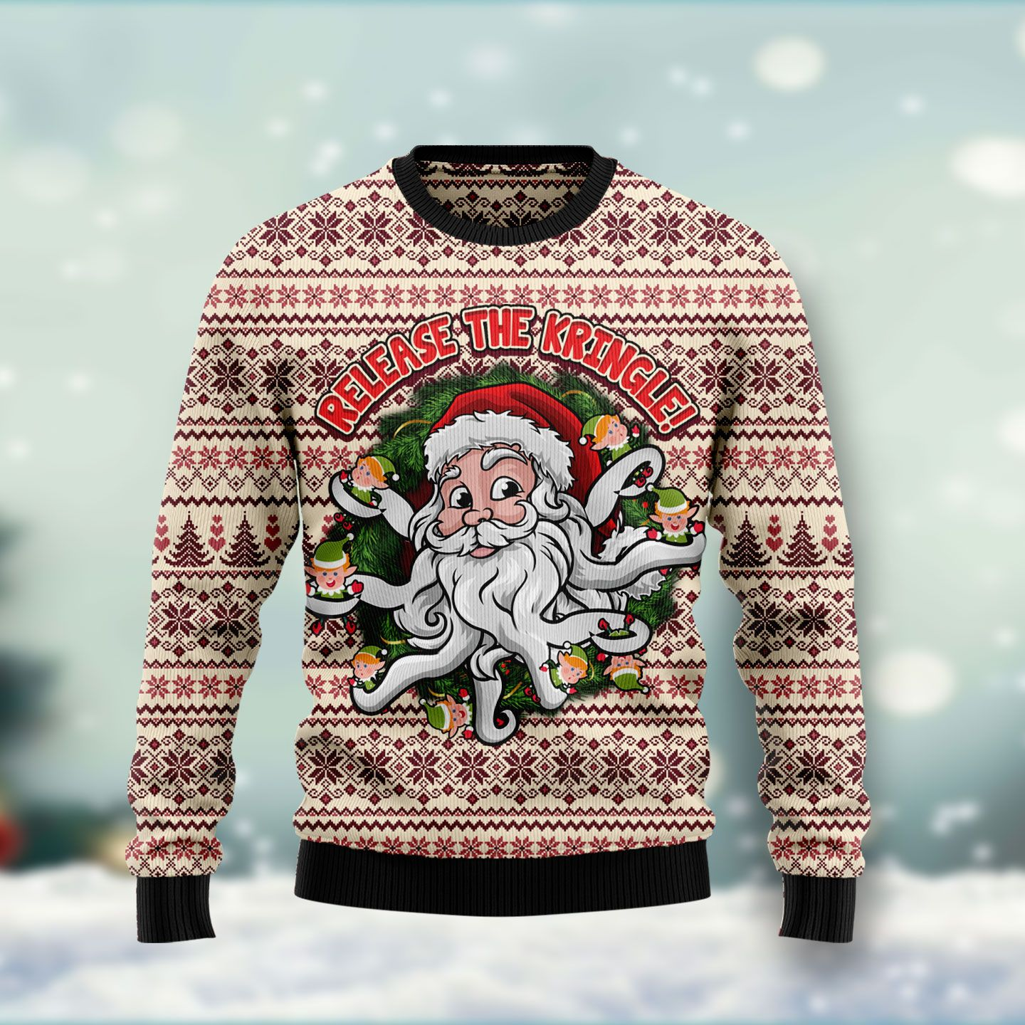 Funny Santa Claus Release the Kringle Wool Christmas Sweater