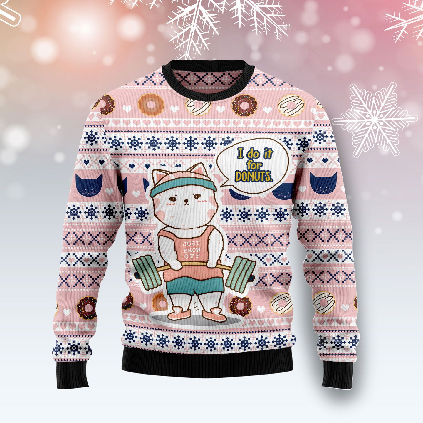 Cat I Do It For Donuts Wool Christmas Sweater