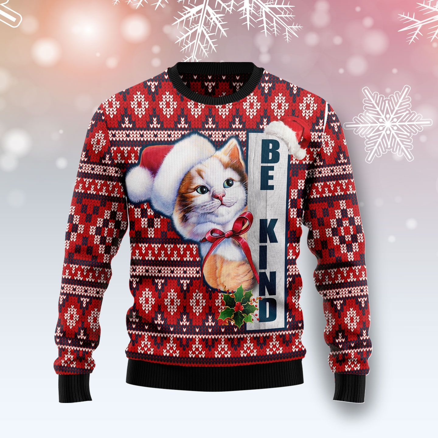 Cat Be Kind Wool Christmas Sweater