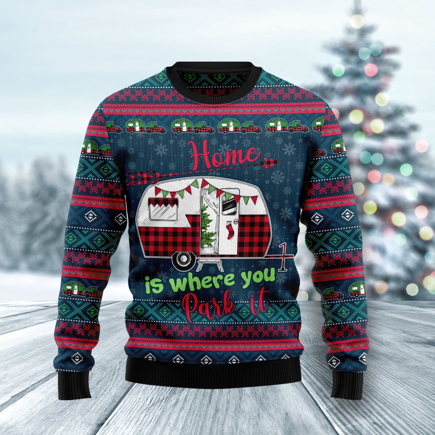 Caravan Home is where you park it Wool Christmas Sweater