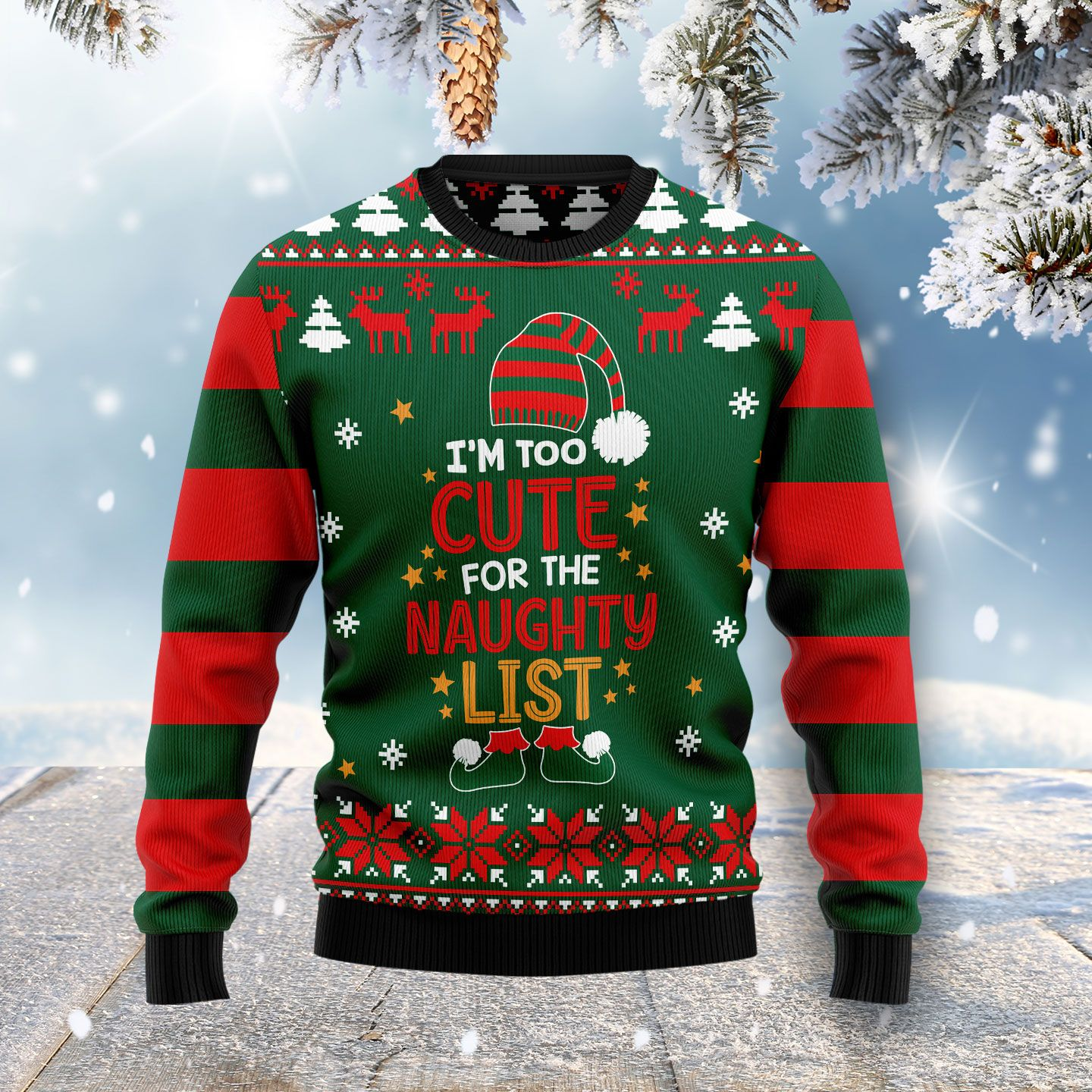 Too Cute For The Naughty List Wool Christmas Sweater