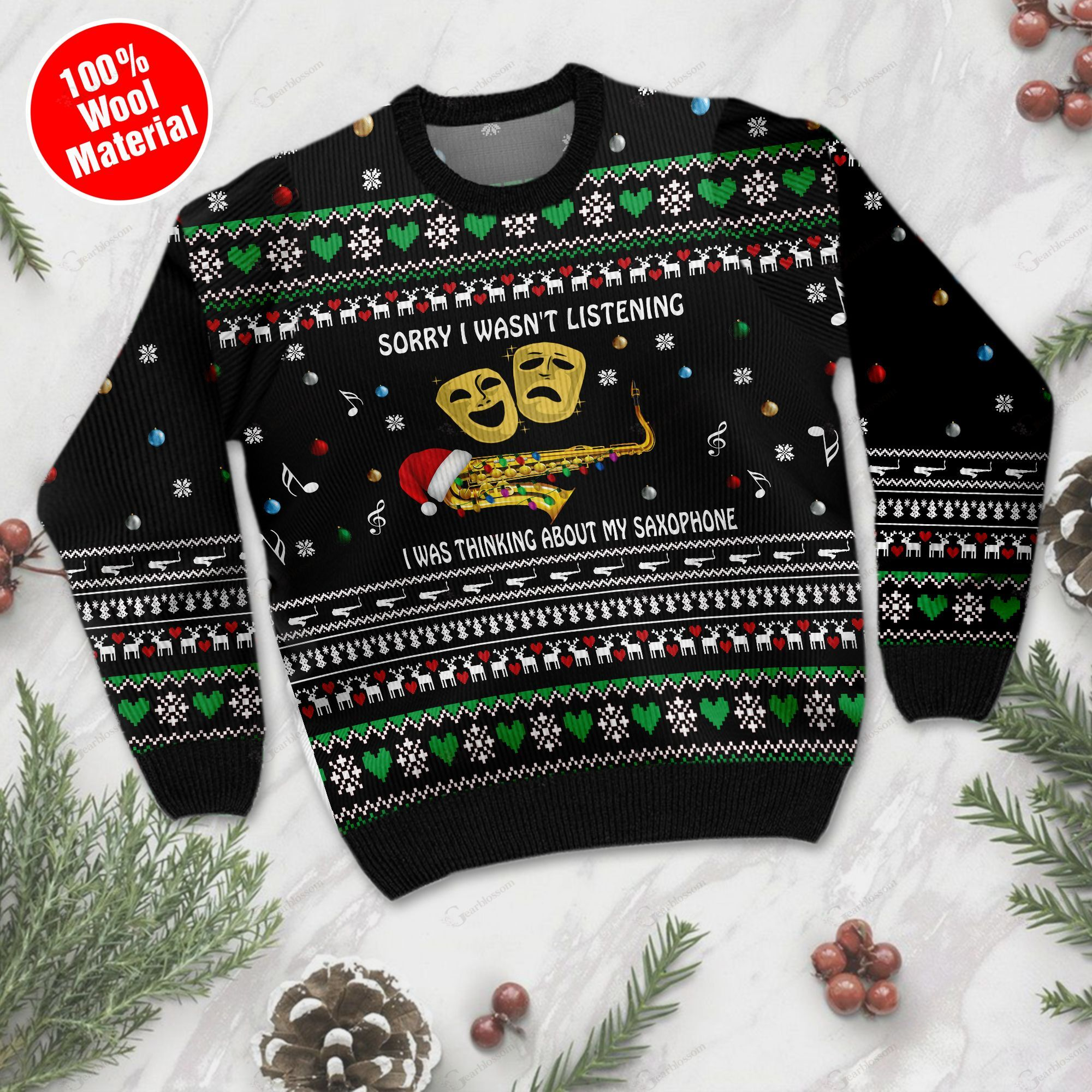 Sorry I Wasn't Listening I Was Thinking About My Saxophone Christmas Saxophone Ugly Wool Sweater For Saxophone Lovers TPLH