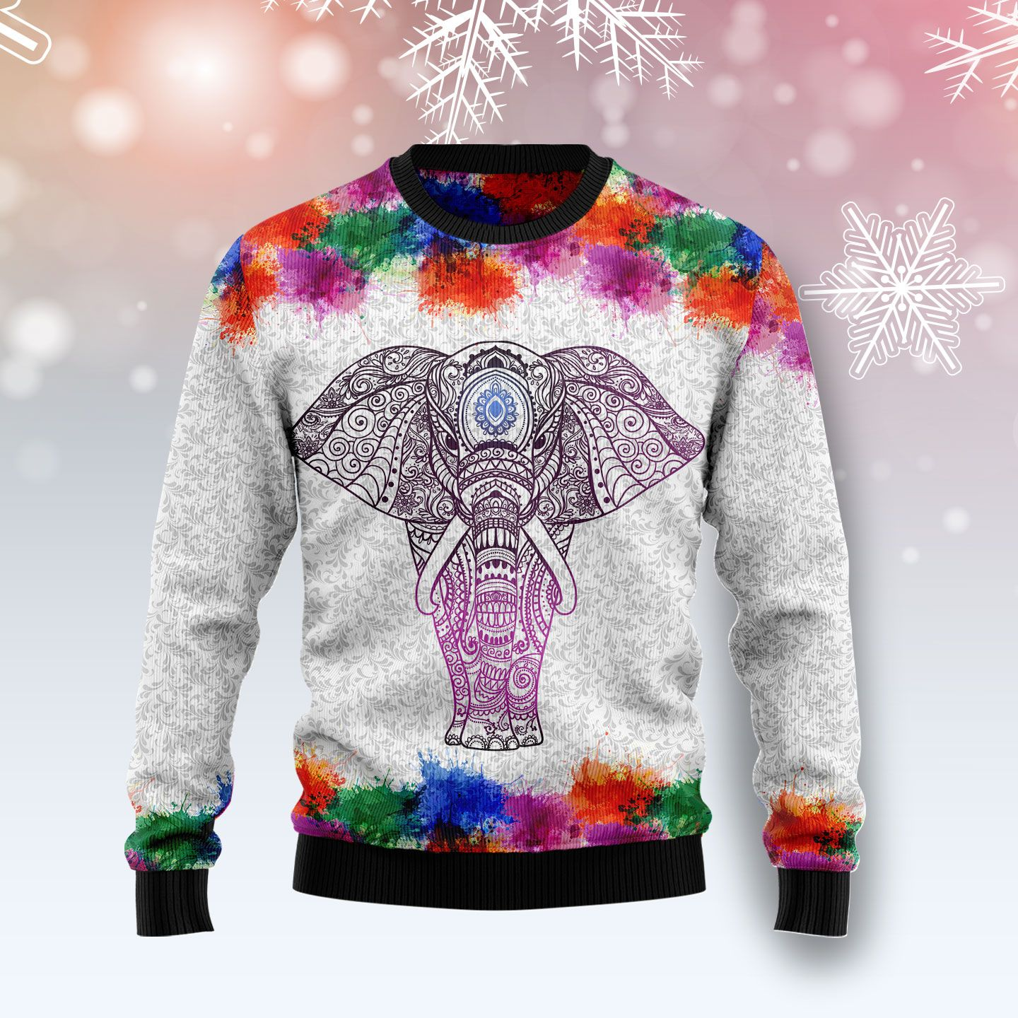 Elephant Mandala Color Wool Christmas Sweater