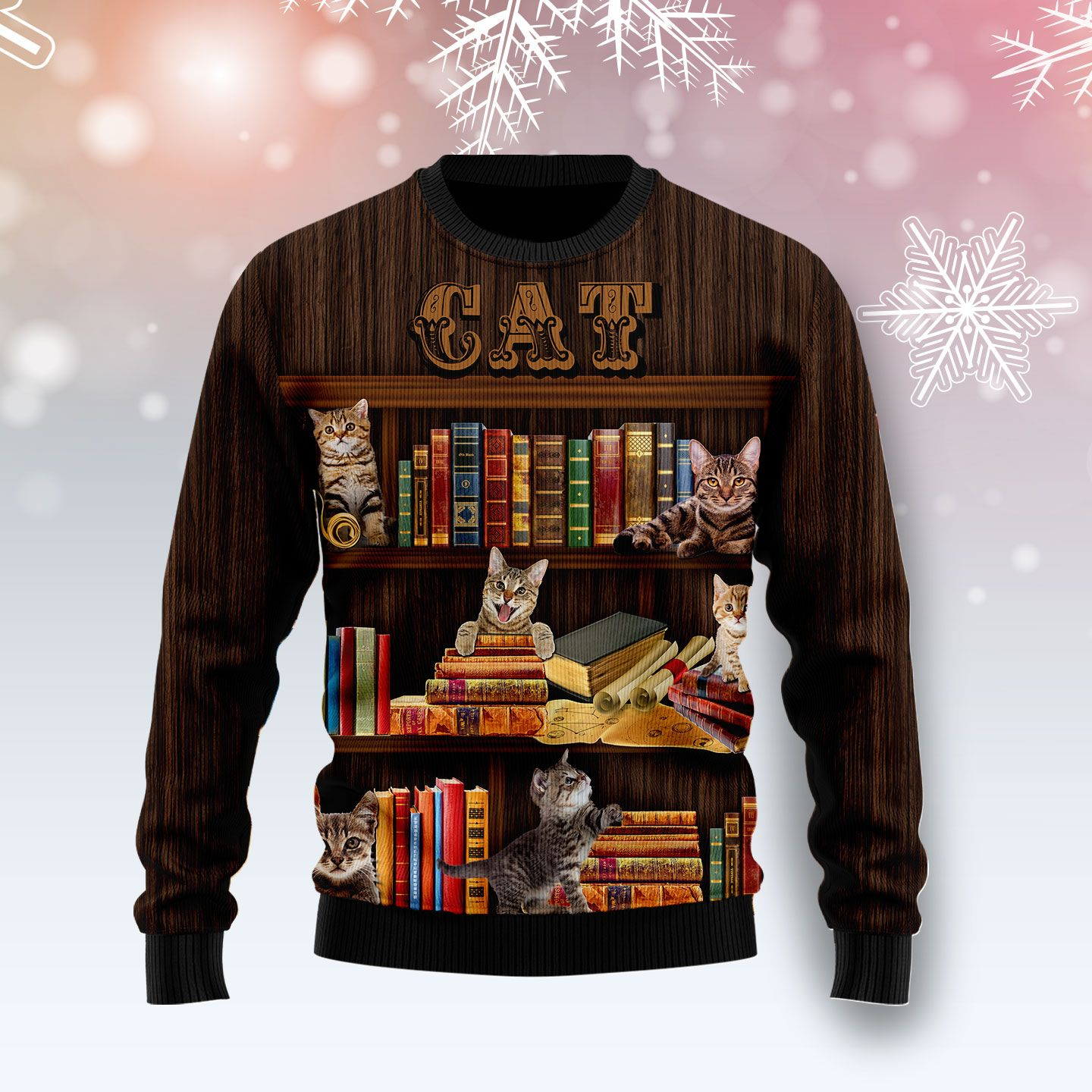 Cat Bookcase Wool Christmas Sweater