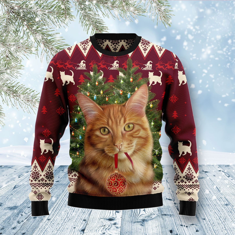 Cat Caffeine Wool Christmas Sweater