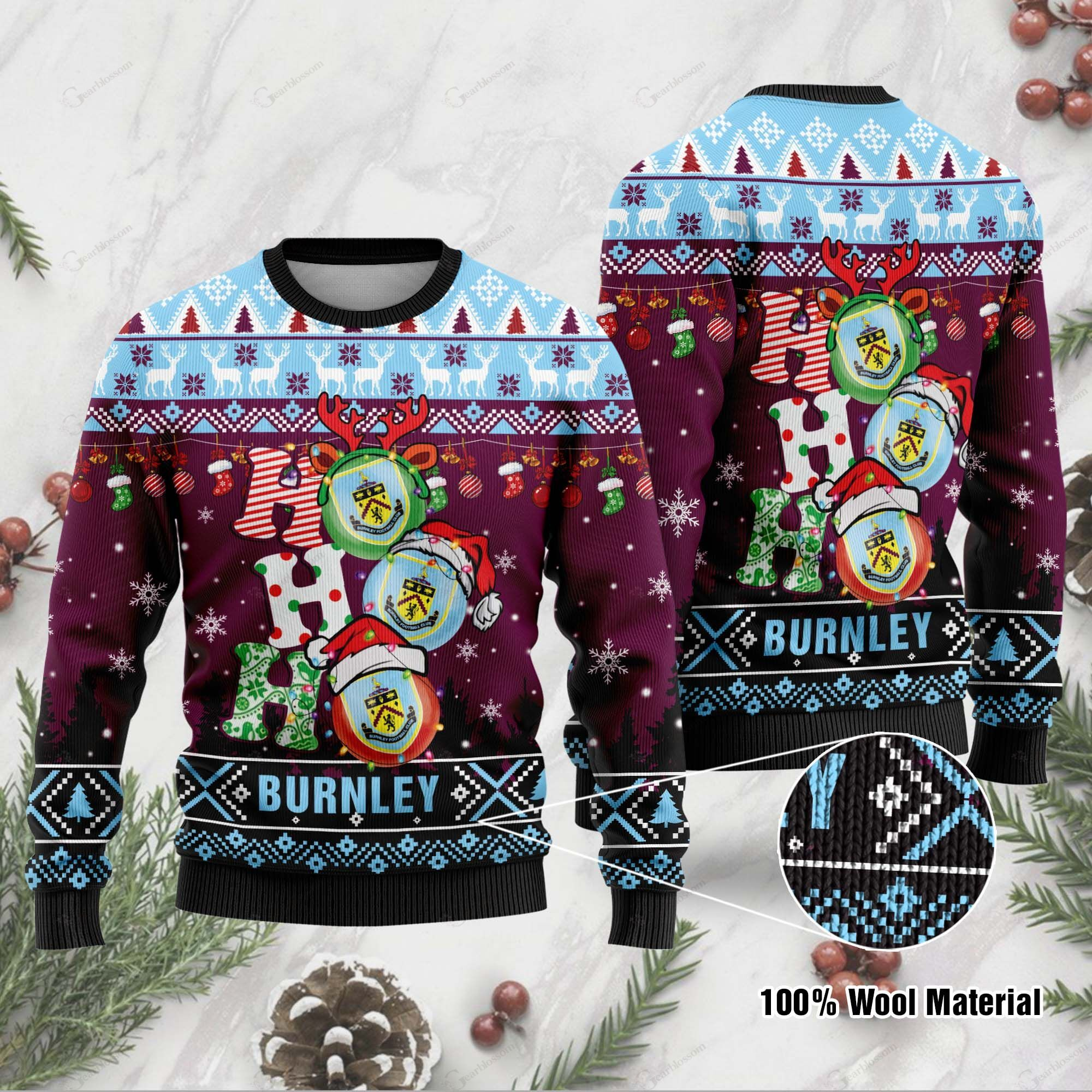 Burnley 3D Print Christmas Wool Sweater