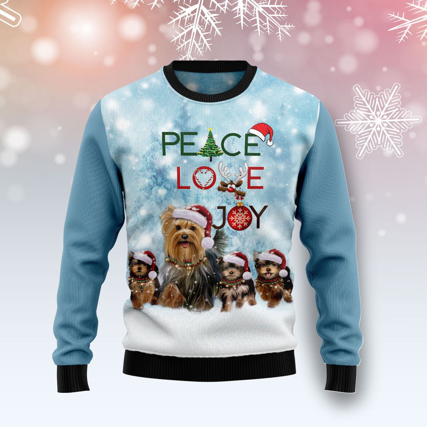 Yorkshire Terrier Peace Love Joy Ugly Sweater Wool Christmas Sweater
