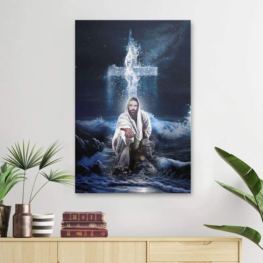 Jesus Outstretched Hands Saves canvas wall art
