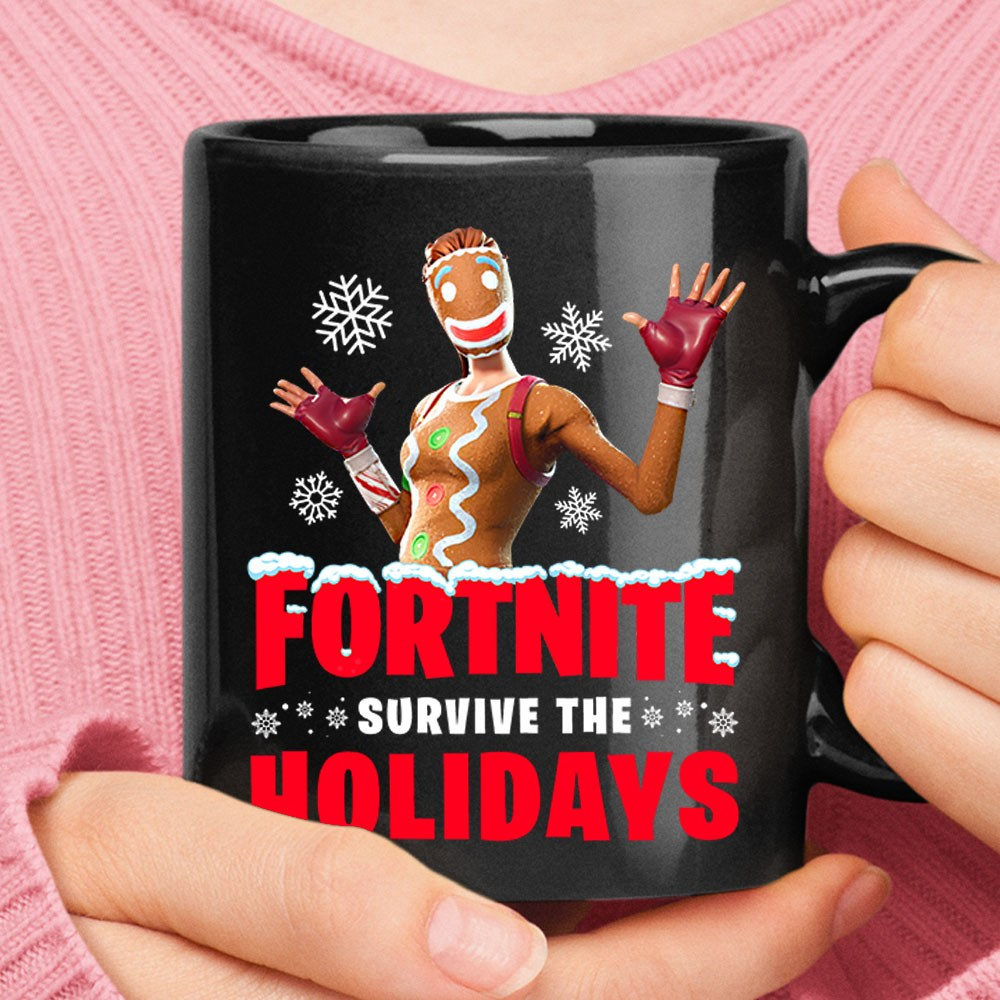 Fortnite Survive Holiday Gingerbread Man Christmas Mug