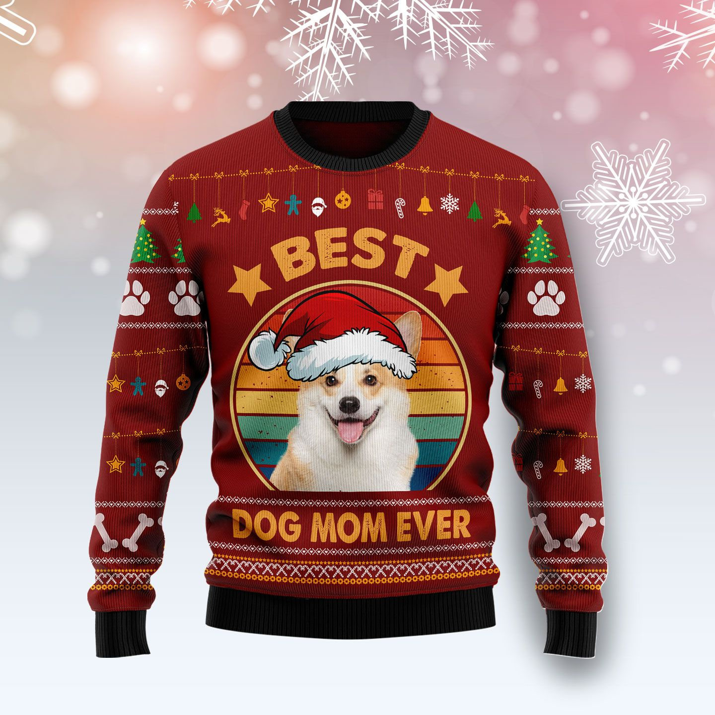 Cardigan Welsh Corgi Best Dog Mom Ever Wool Christmas Sweater