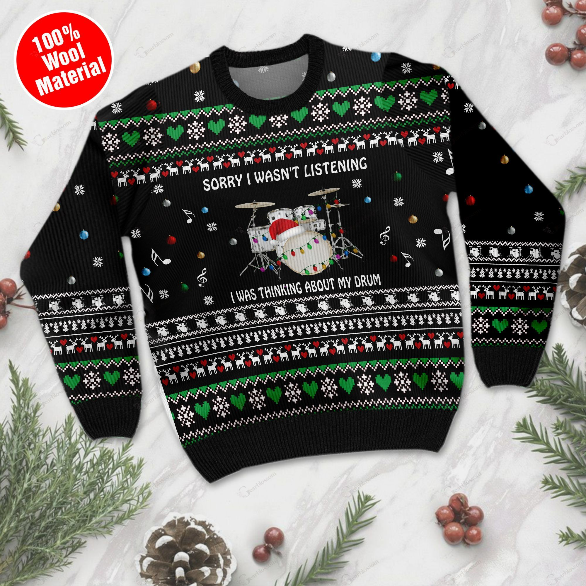 Sorry I Wasn't Listening I Was Thinking About My Drum Christmas Drum Ugly Wool Sweater For Drum Lovers TPLH