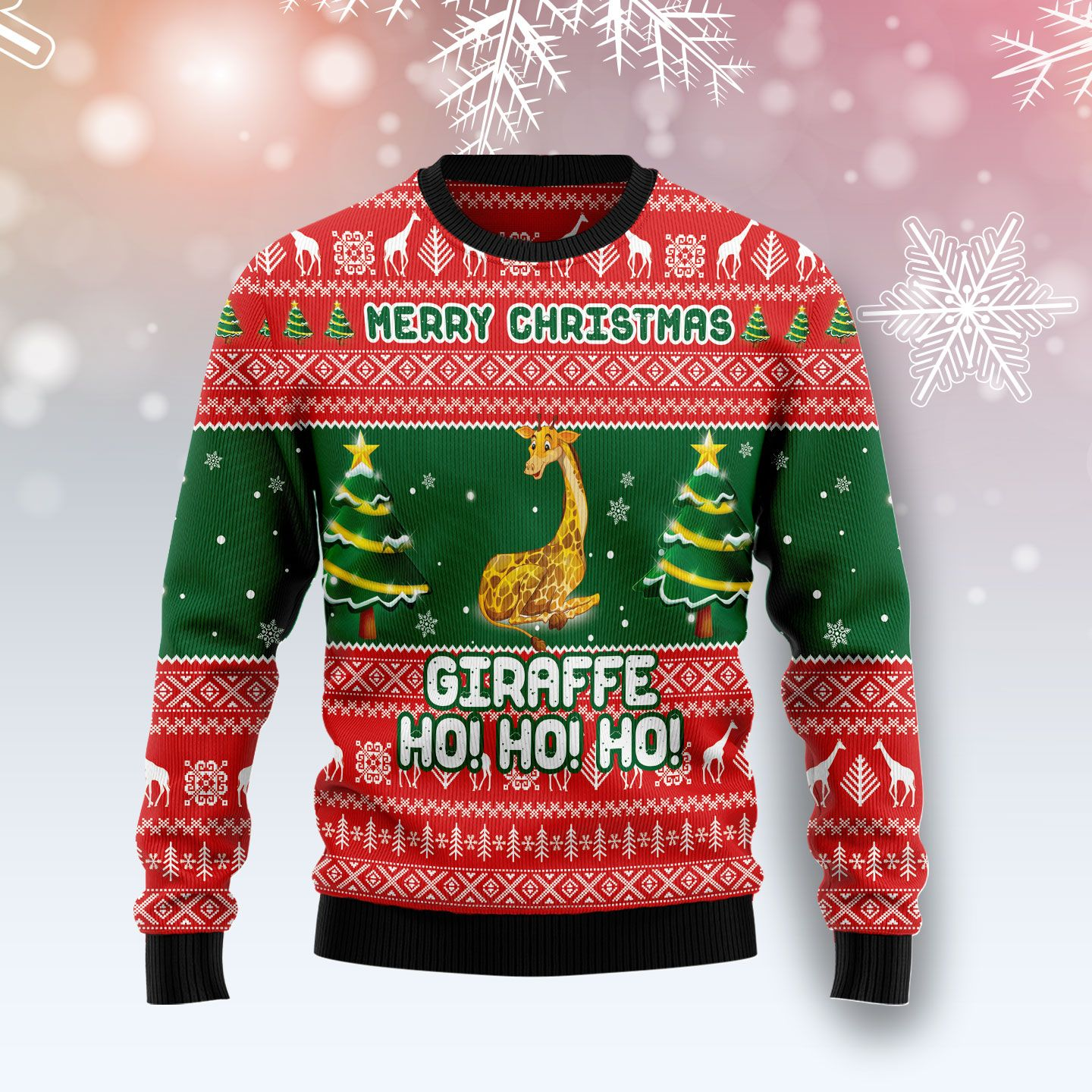 Giraffe Ho Ho Ho Wool Christmas Sweater