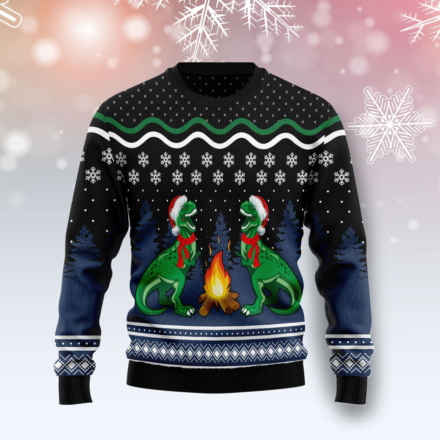 Camping T-rex Wool Christmas Sweater