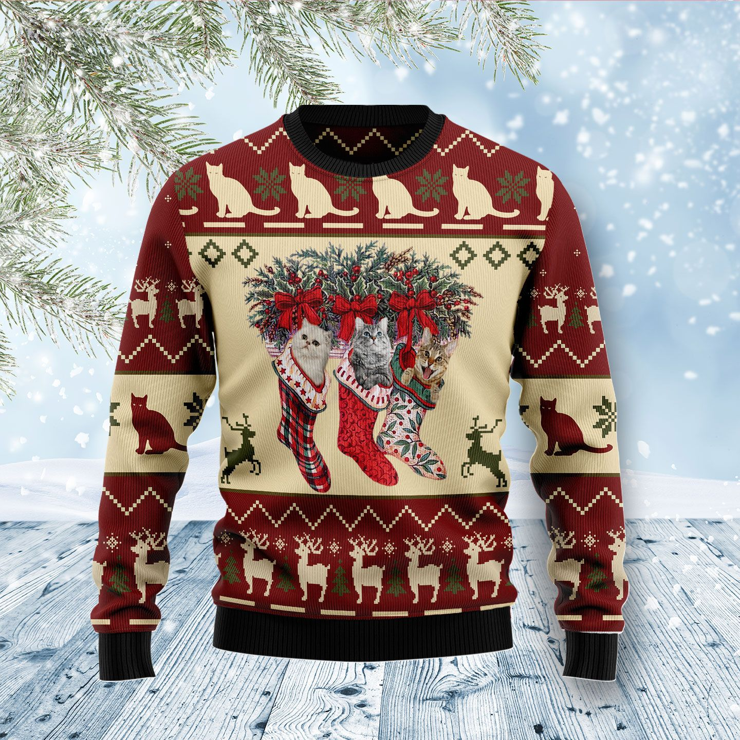 Carolling Sharks Wool Christmas Sweater