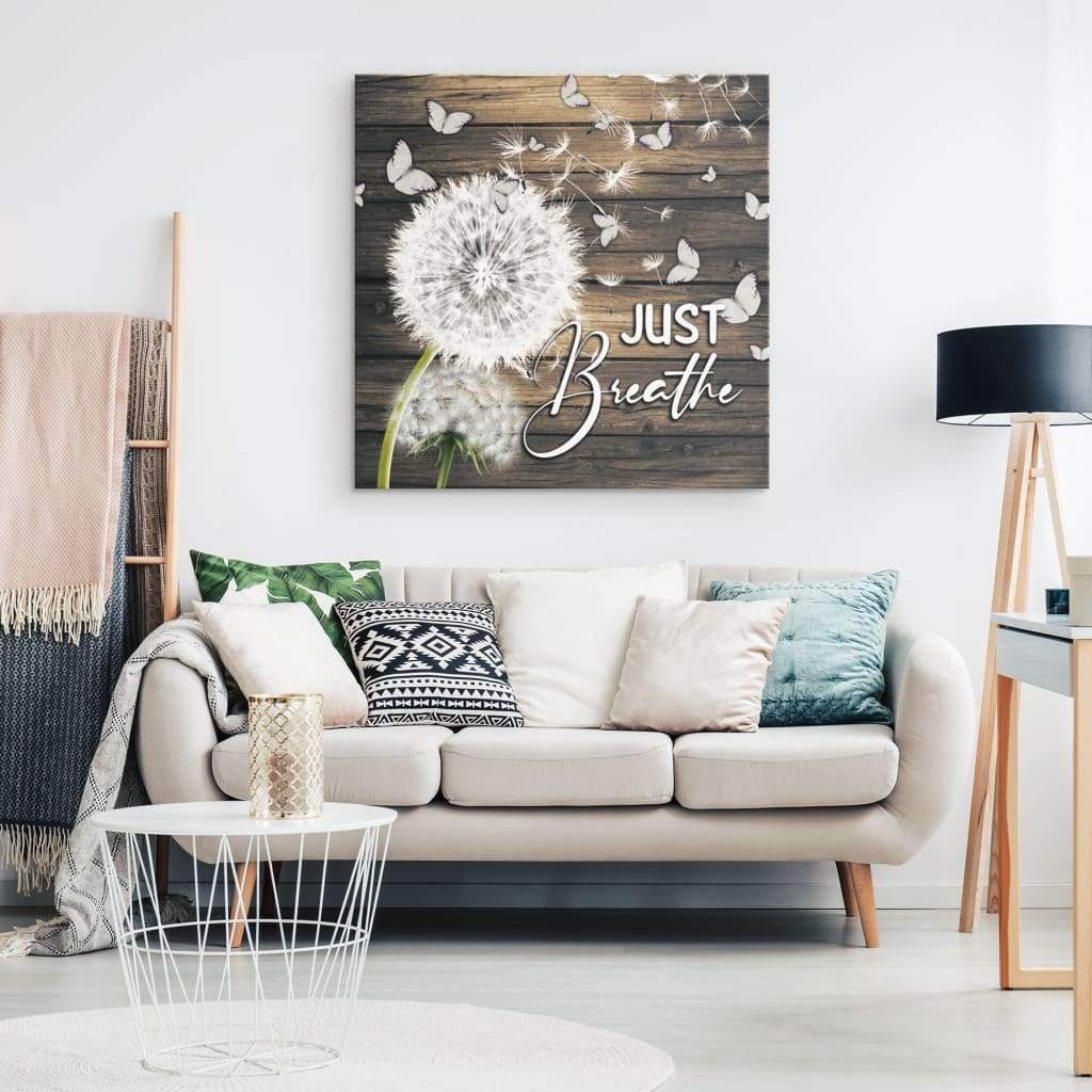 (Brown) Just breathe canvas wall art