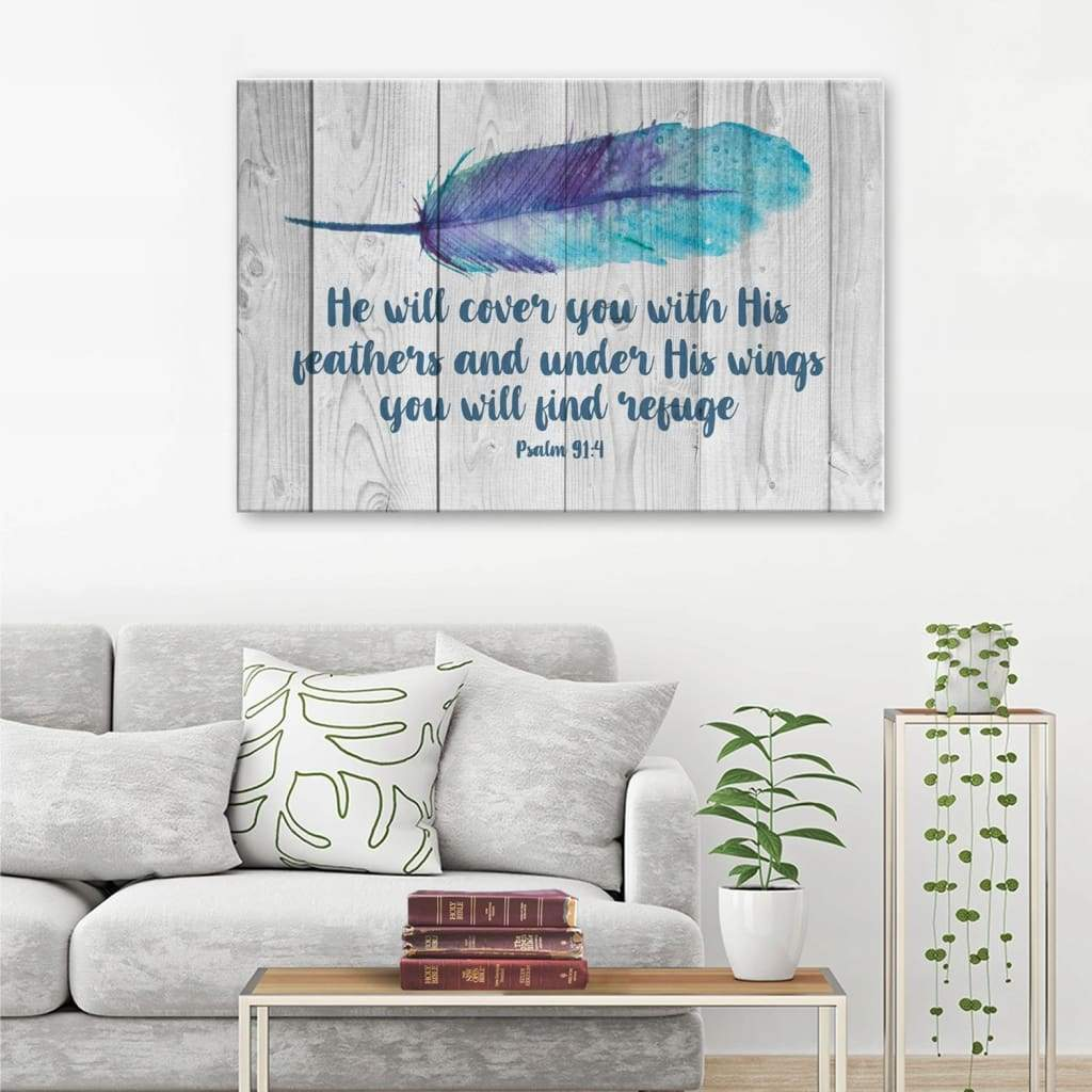 He will cover you with his feathers Psalm 91:4 canvas print