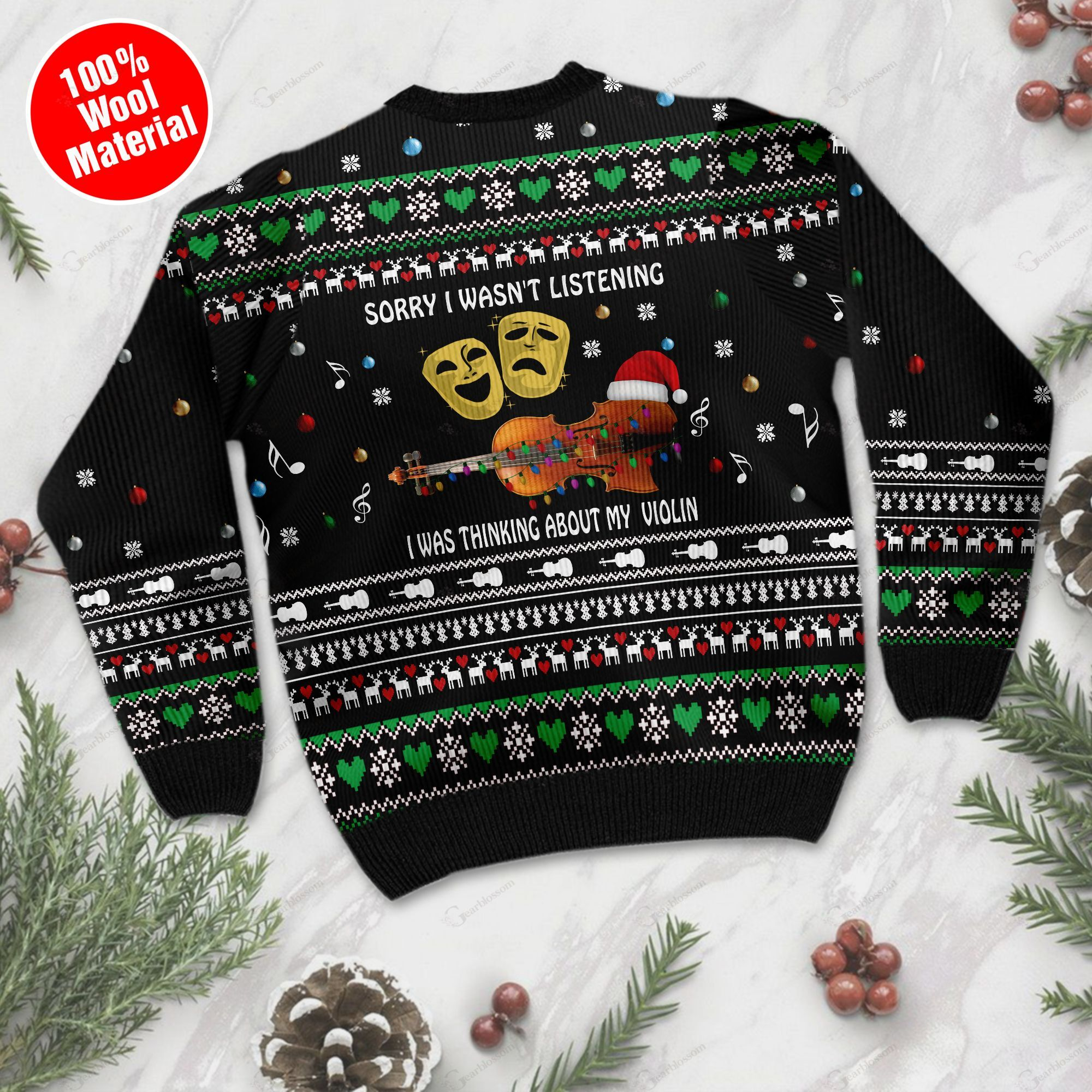 Sorry I Wasn't Listening I Was Thinking About My Violin Christmas Violin Ugly Wool Sweater For Violin Lovers TPLH