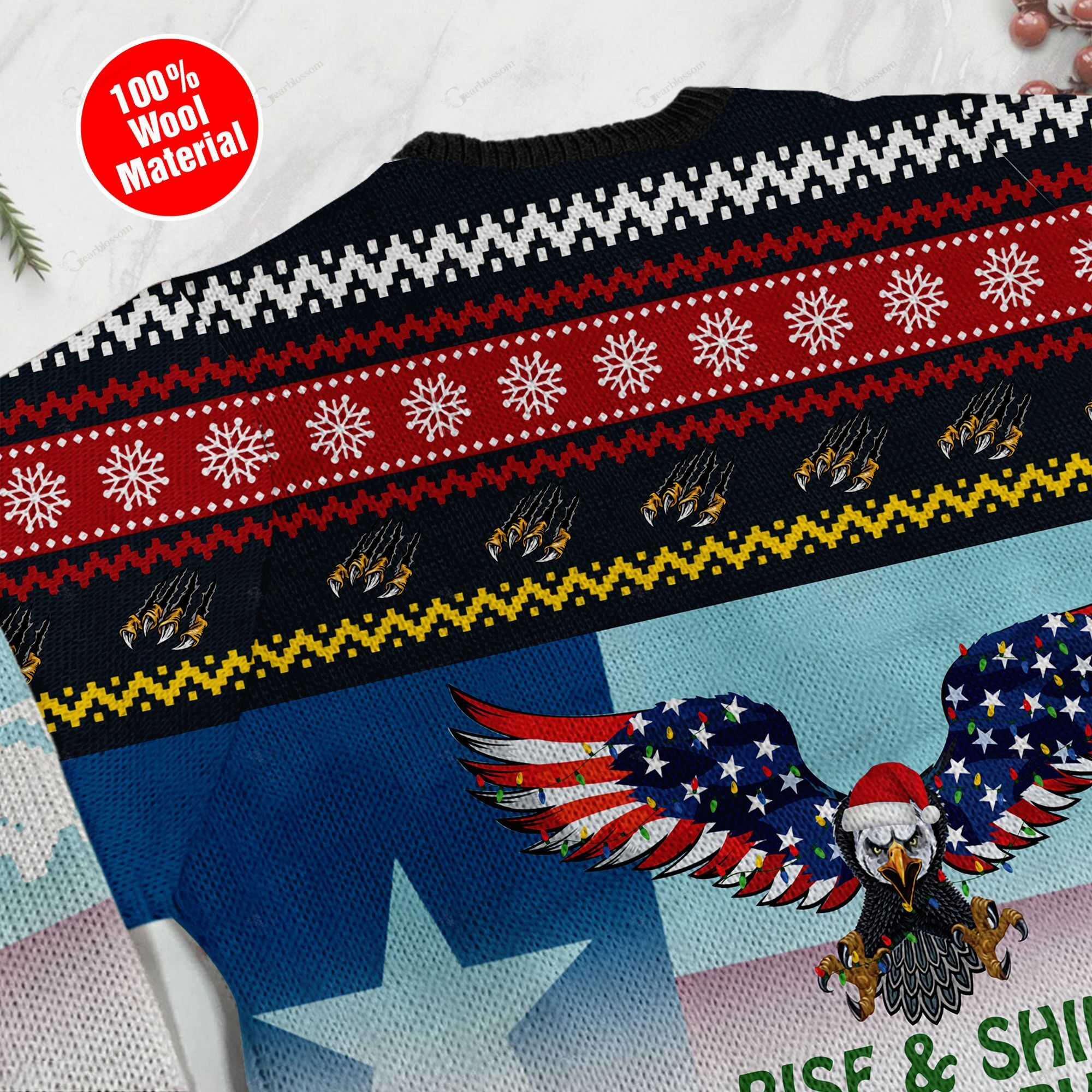 Rise And Shine It's Falconry Time Texas Eagle Ugly Christmas Wool Sweater For Texas People On Christmas Day TPLH
