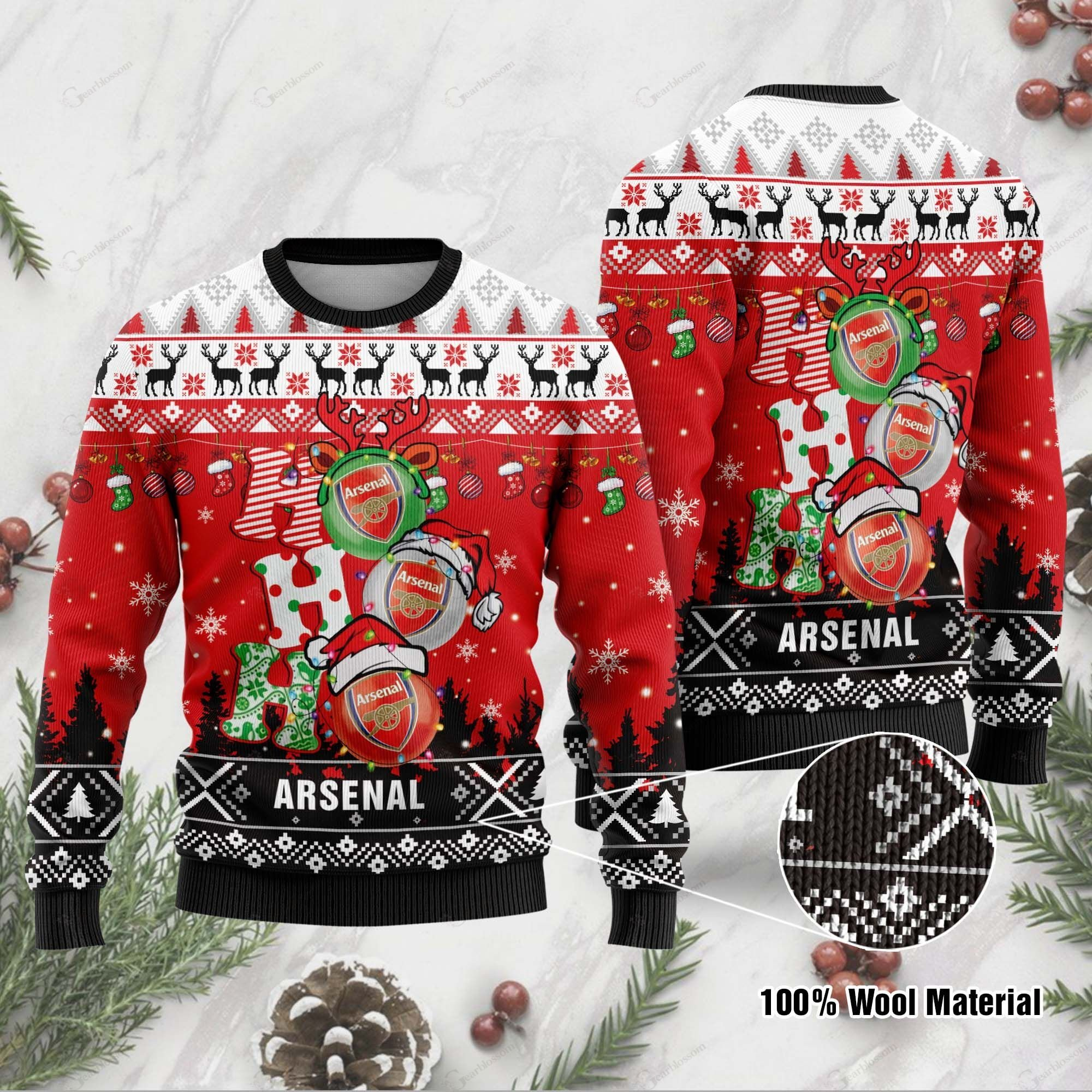 Arsenal 3D Print Christmas Wool Sweater