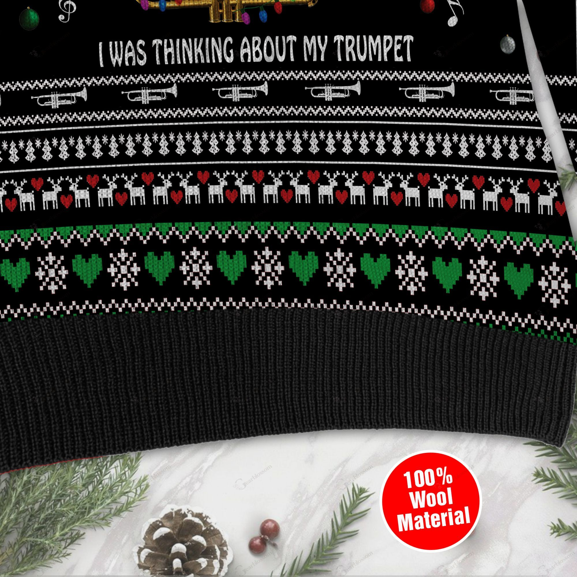 Sorry I Wasn't Listening I Was Thinking About My Trumpet Christmas Trumpet Ugly Wool Sweater For Trumpet Lovers TPLH