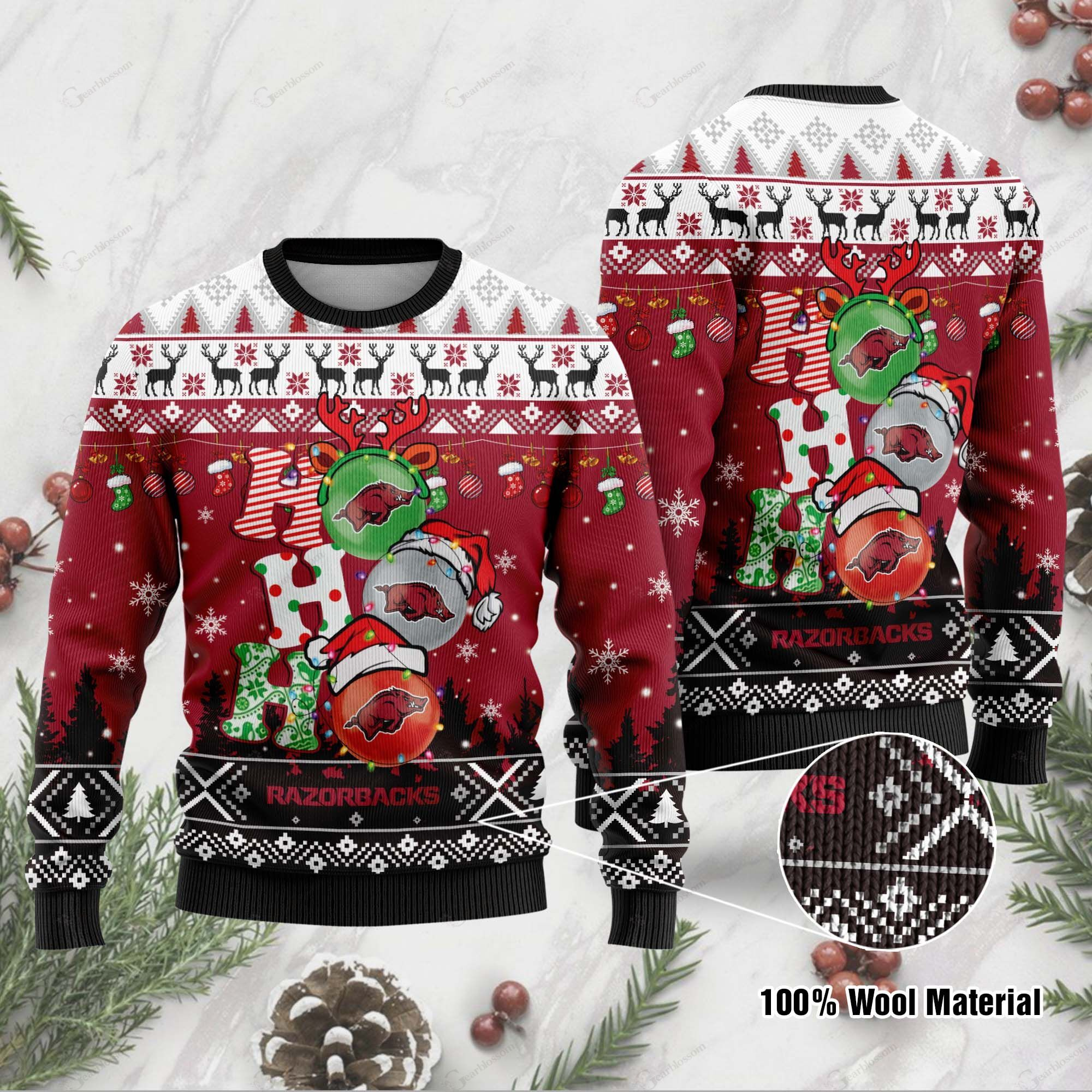 Arkansas Razorbacks 3D Print Christmas Wool Sweater