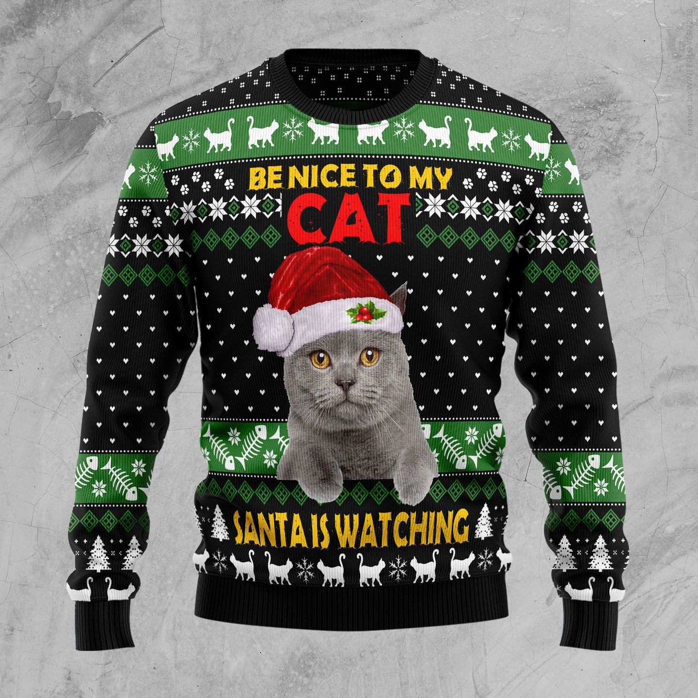 Cat Be Nice Wool Christmas Sweater