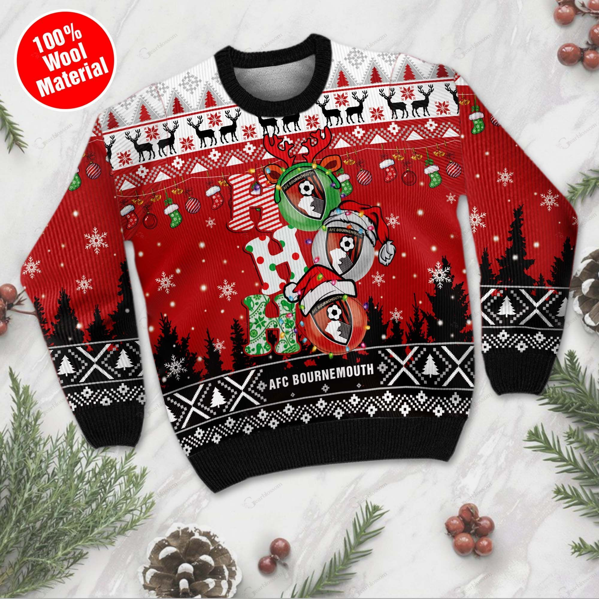 AFC Bournemouth 3D Print Christmas Wool Sweater