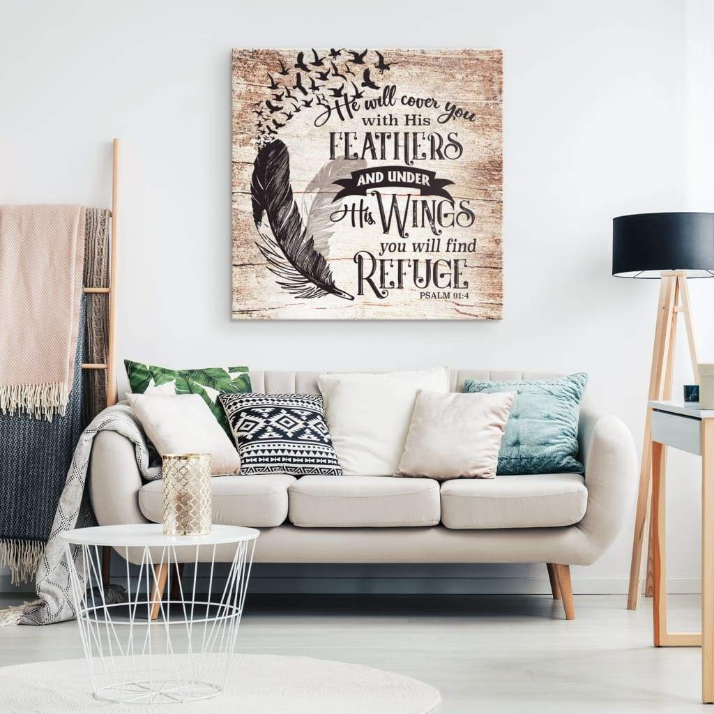 Psalm 91:4 He will cover you with his feathers canvas wall art