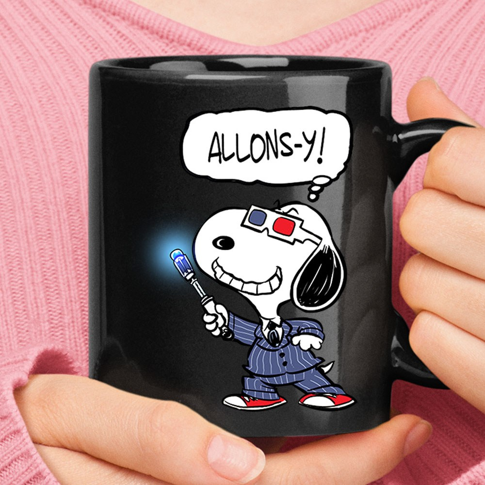 10th Doctor Snoopy Allons-y Doctor Who Mug