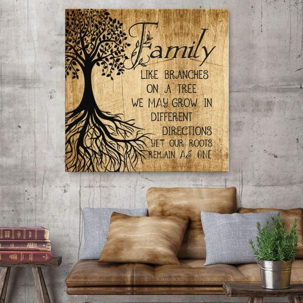 Family like branches on a tree canvas wall art