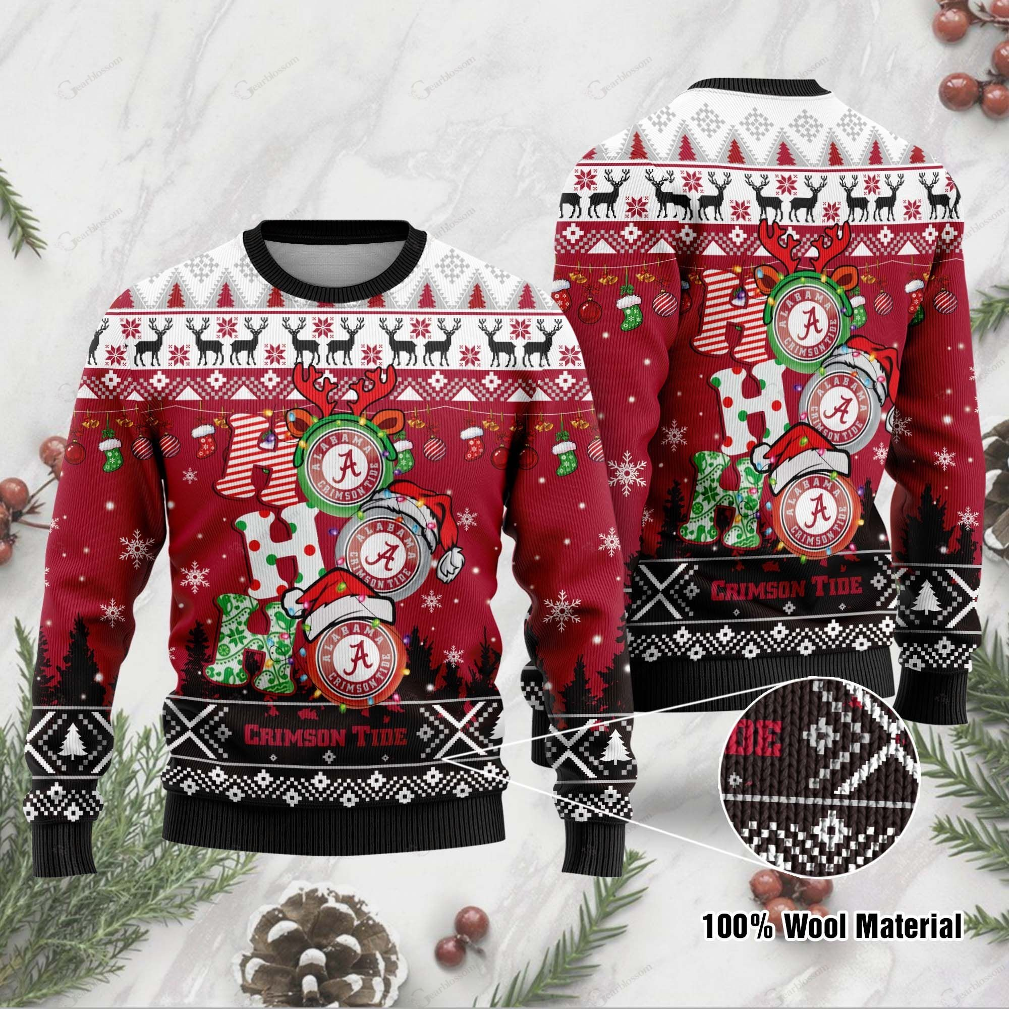 Alabama Crimson Tide 3D Print Christmas Wool Sweater