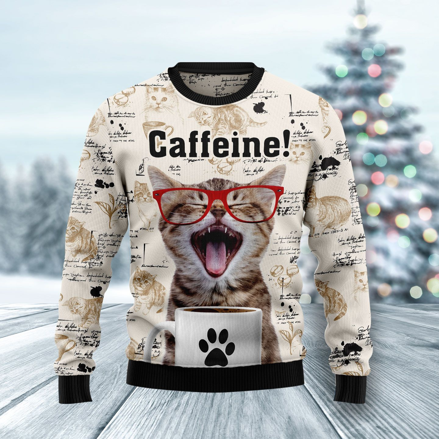 Cat Keep It Classy For Christmas Wool Christmas Sweater