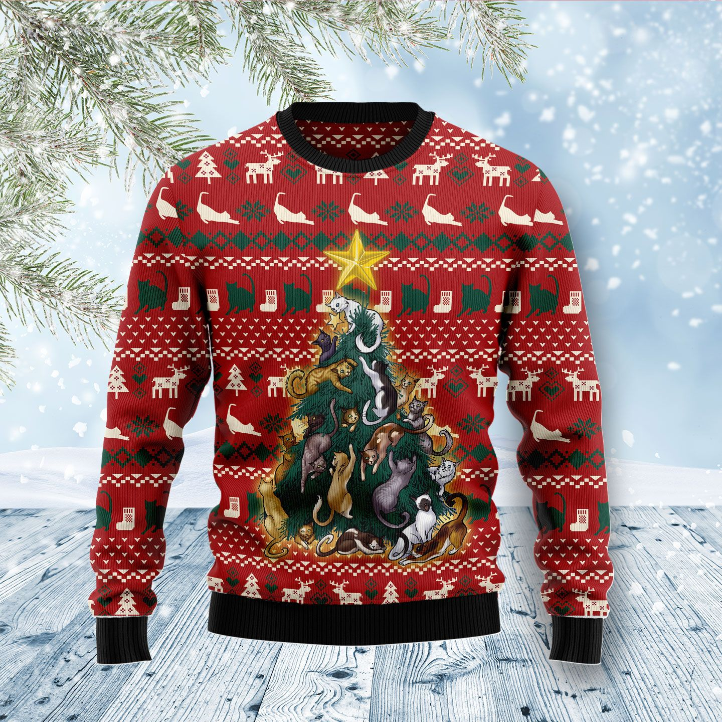 Cat Naughty Pine Wool Christmas Sweater