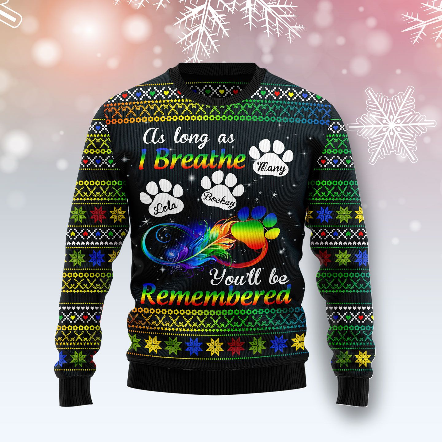 Dogs Will Be Remembered Personalized Wool Christmas Sweater
