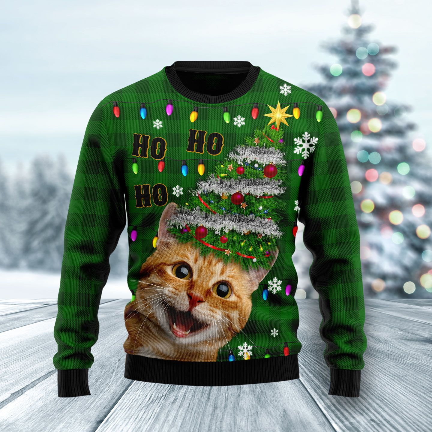 Cat Christmas Tree Wool Christmas Sweater