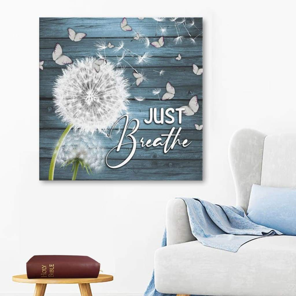 (Teal) Just breathe canvas wall art