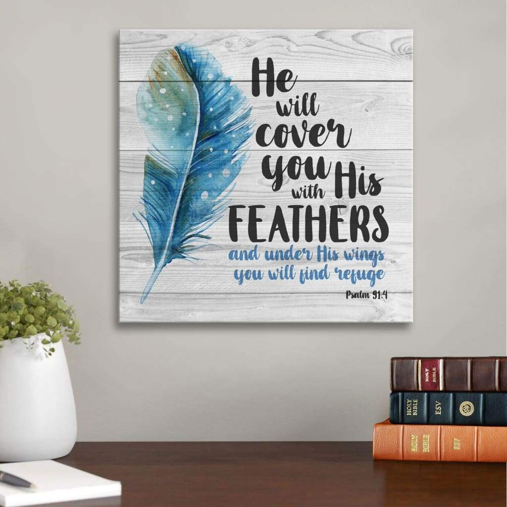 He shall cover you with his feathers Psalm 91:4 canvas print