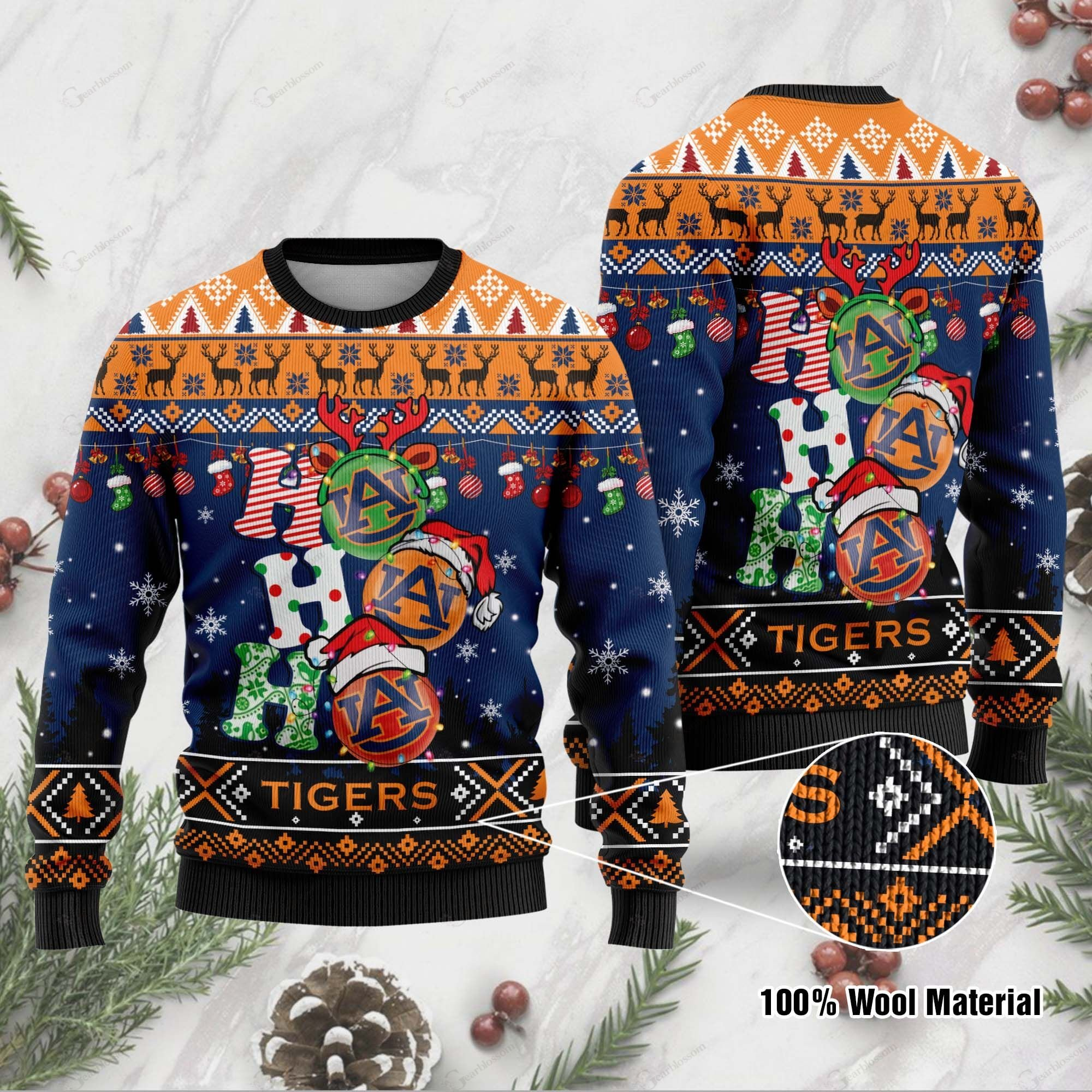 Auburn Tigers 3D Print Christmas Wool Sweater