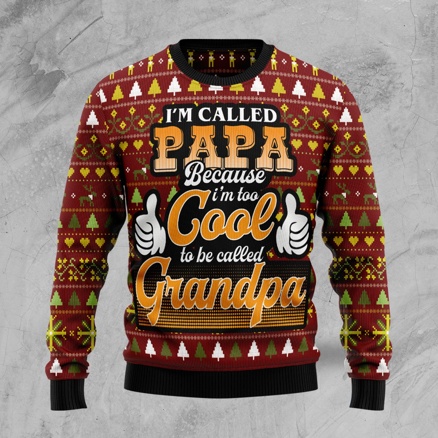 Too Cool To Be Called Grandpa Wool Christmas Sweater