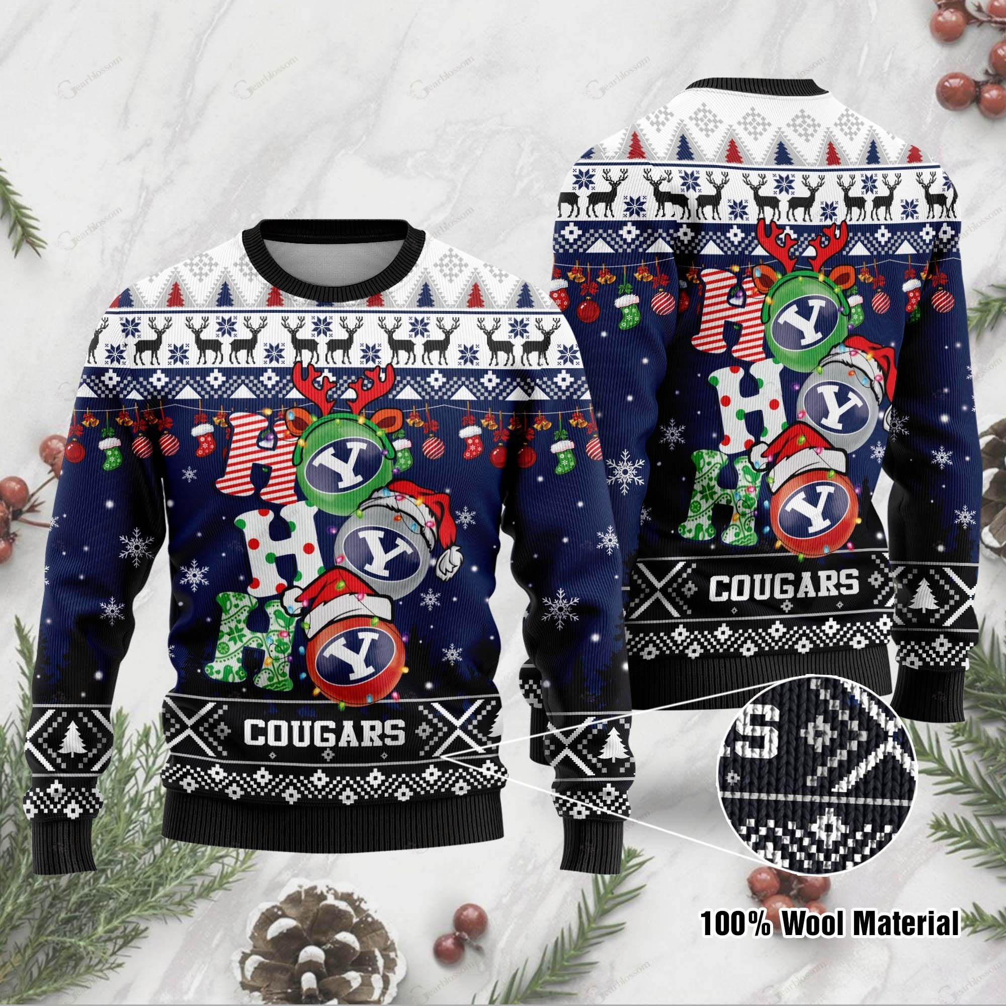 BYU Cougars 3D Print Christmas Wool Sweater